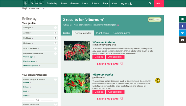Screenshot of RHS plant finder on their website, using the UK native filter