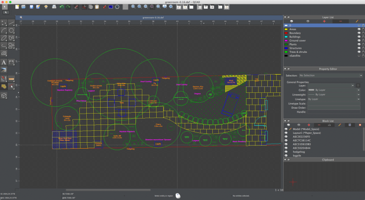 Computer Aided Design screenshot of small garden design