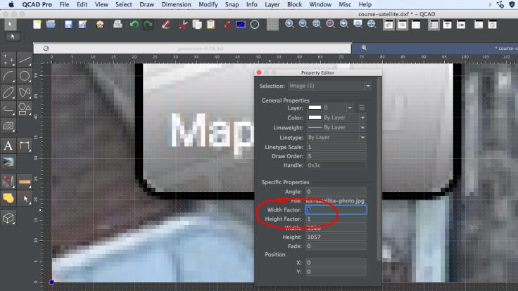 Screenshot of bitmap image in CAD software