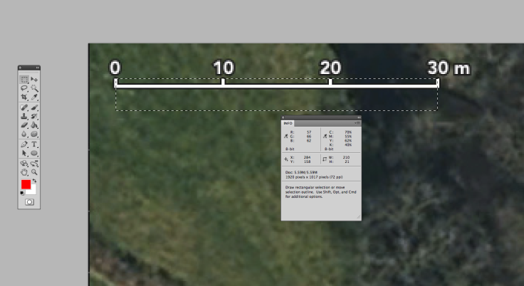 Screenshot of metres scale on satellite photo in Photoshop