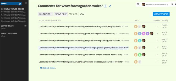 Screenshot of Talkyard comments admin page
