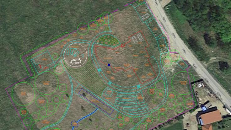 CAD garden design superimposed over satellite photo