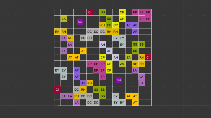 Screenshot of coloured square grid