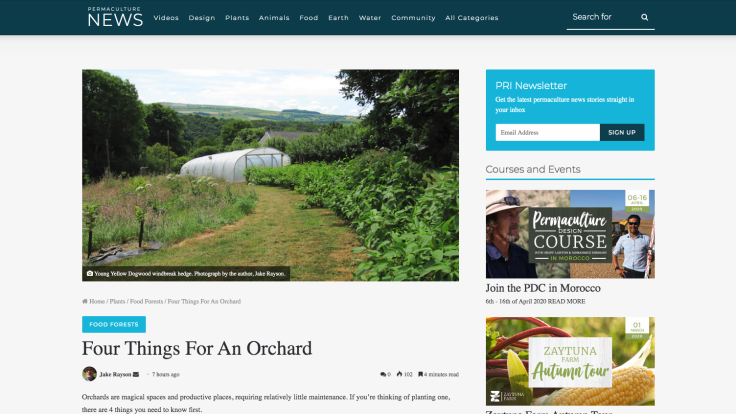 Screenshot of article on Permaculture News