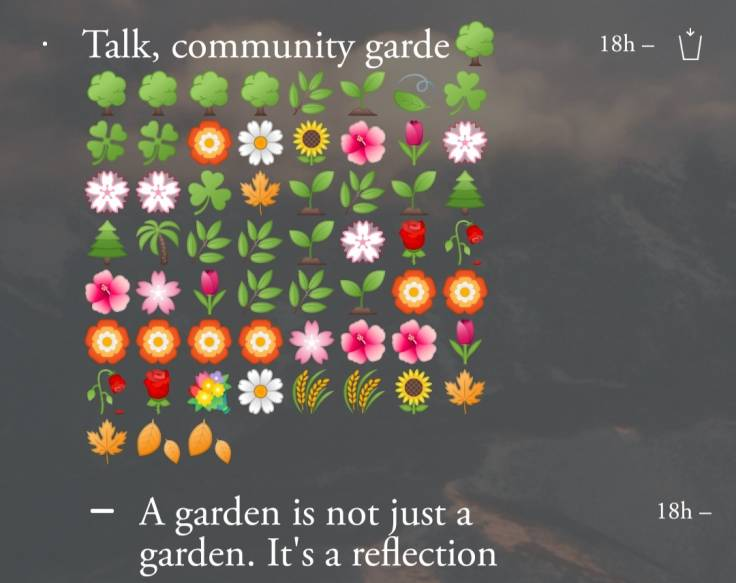 Screenshot of todo list on phone, with lots of plant emojis
