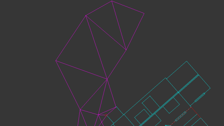 CAD mesh triangle outline of garden