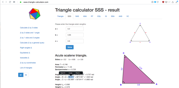 Screenshot of triangle-calculator.com