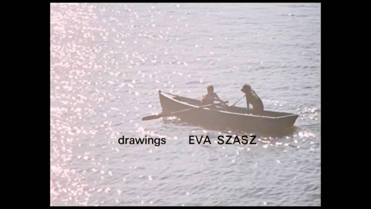 Film, boy on boat with dog, drawings by Eva Szasz