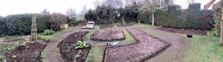 Panorama of back garden with bare beds