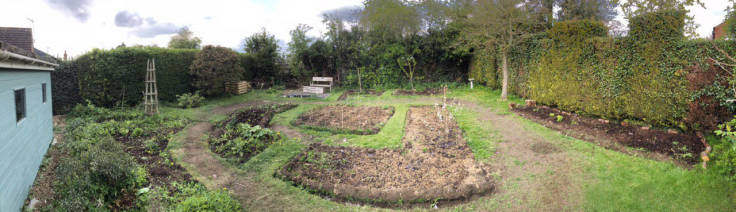 Panorama of back garden with greener beds