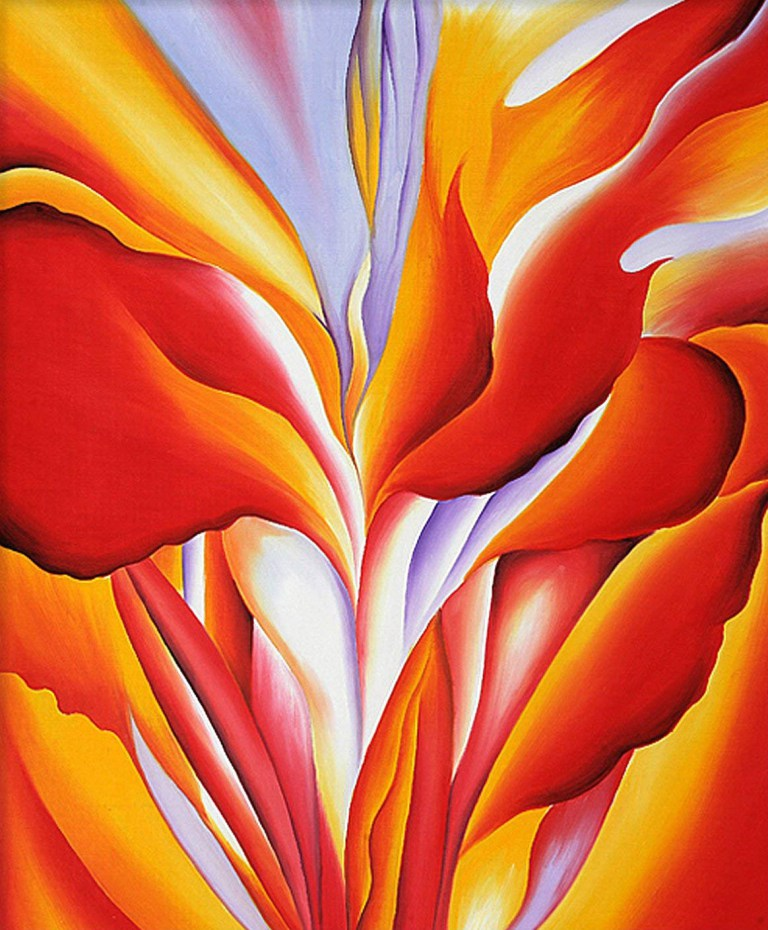 Georgia O'Keeffe Canna painting bright red flower