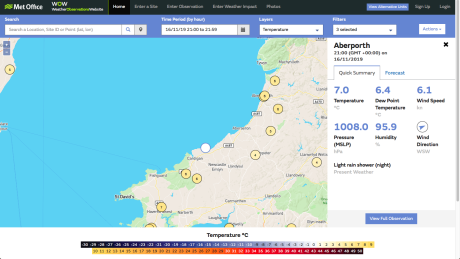 Screenshot of Met Office Weather Observation Website