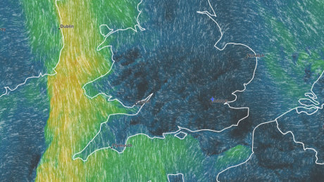 Wind map from Meteoblue