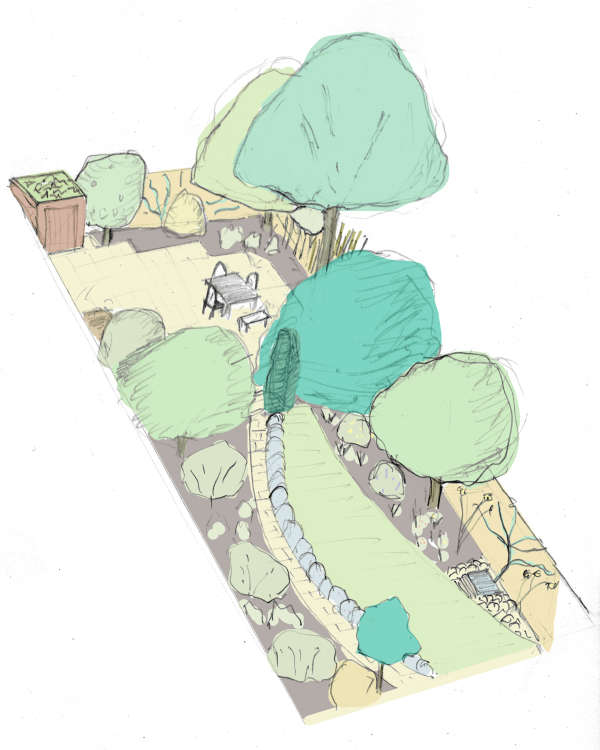 Colourised pencil 3D sketch of Green Room garden