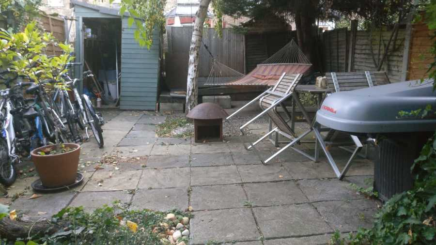 Town house paved patio area