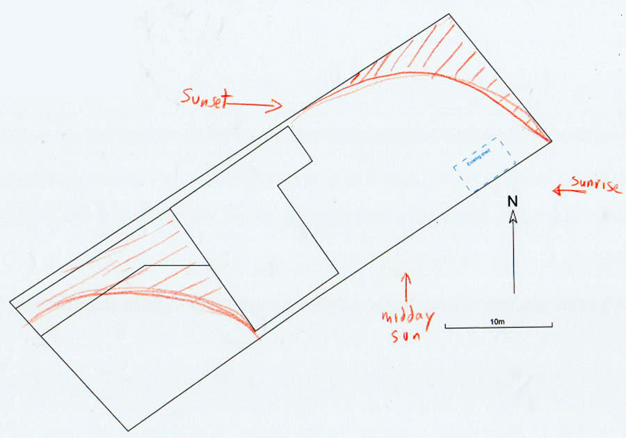 Plan showing areas of light