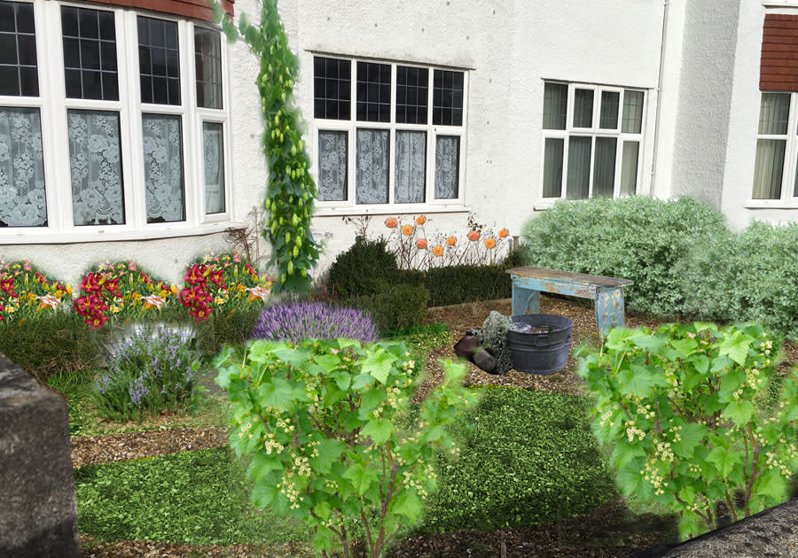Front of white 1930s house, superimposed photomontage of plants