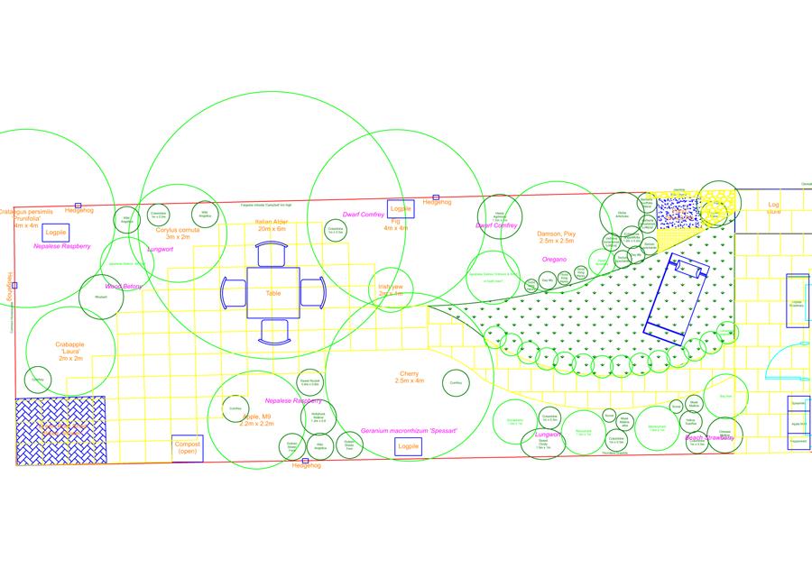 2D CAD plan of back garden