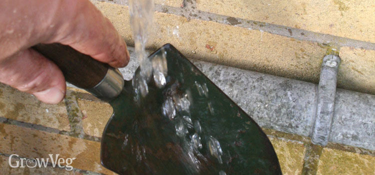 Washing a trowel