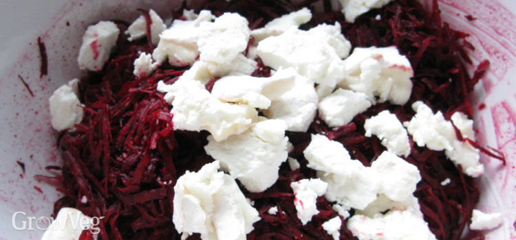Beet and feta cheese fritter mixture