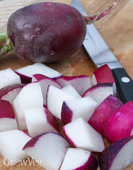 Big fall-grown radishes are perfect for roasting