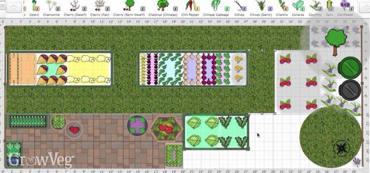 Garden layout using the Garden Planner