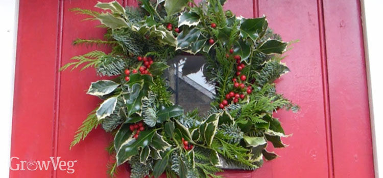 Traditional home-made Christmas wreath
