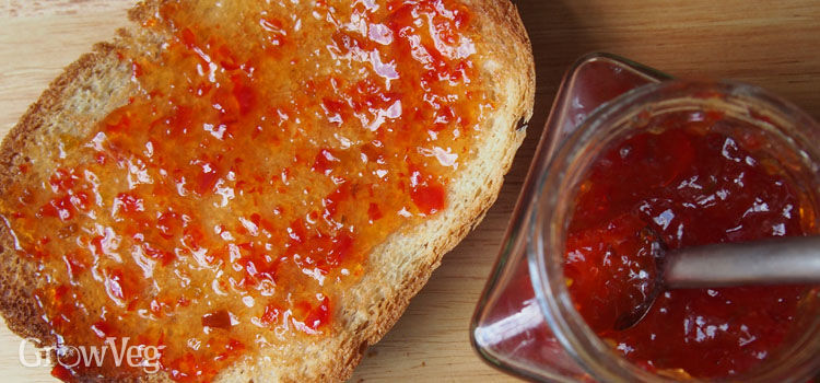 Home-made chilli jam on toast