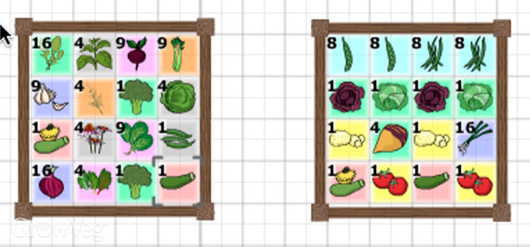 Square foot gardening beds drawn with the Garden Planner