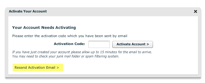 Activation code reminder
