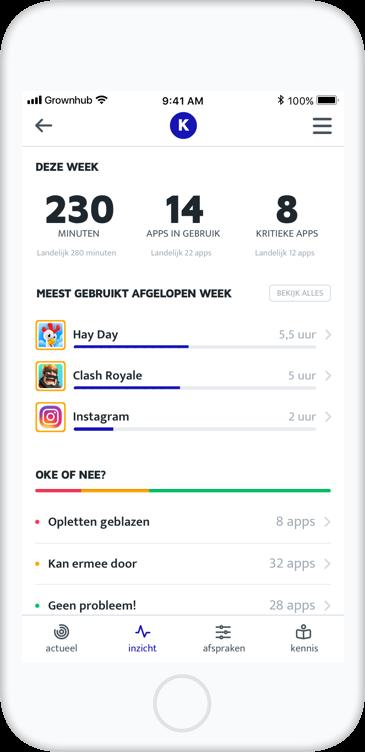 Schermafbeelding van de Grownhub app in het inzicht scherm