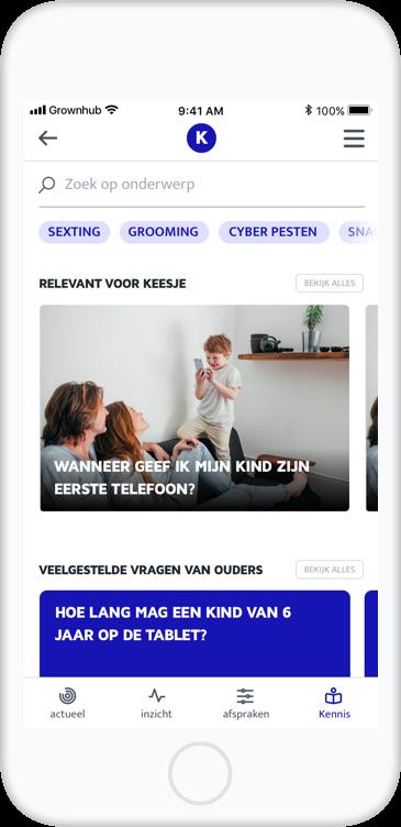 Schermafbeelding van de Grownhub app in het kennis scherm