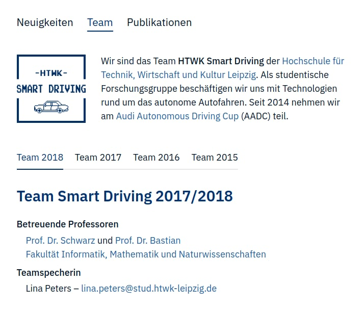 Screenshot http://smart-driving.htwk-leipzig.de