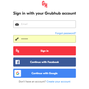 sign in with grubhub