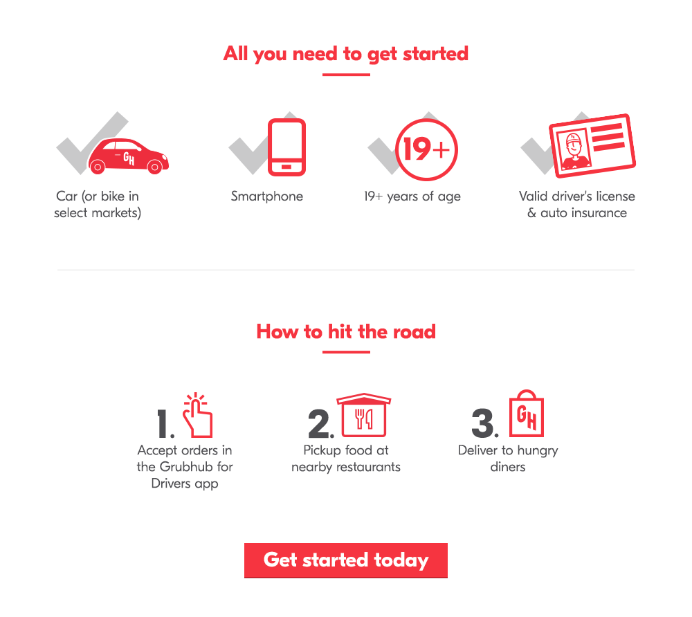 All you need to get started: car (or bike in select markets), smartphone, be 19+ years of age, and a valid driver's license & auto insurance. How to hit the road: 1. Accept orders in the Grubhub for Drivers app, 2. Pickup food at nearby restaurants, 3. Deliver to hungry diners. Get started today!