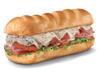 Loaded completely with mayo, deli mustard, lettuce, tomato, onion, and a kosher dill spear on the side. Available on white or wheat sub roll.