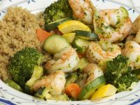 Sauteed Shrimp And Mixed Vegetables With Roasted Garlic And Herb Sauce.  Served With Choice Of Brown Rice Or Whole Wheat Pasta.