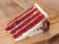 Scarlet Red Velvet Cake Slice Contains Dairy Eggs And Wheat