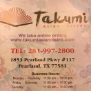 Takumi Asian Bistro Menu
