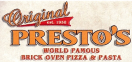 Original Presto's Brick Oven Pizza Menu