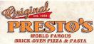 Original Presto's Brick Oven Pizza Menu