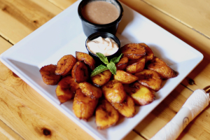 Platanos con Crema y Frijoles Fritos - delivery menu
