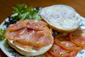 Assorted Bagels with Salmon - delivery menu