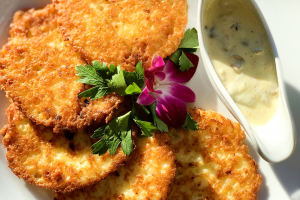 Potato pancakes with Creamy Mushrooms sauce - delivery menu