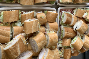 "Party Trays (serves 8-10 people) 24-3"" sandwiches - delivery menu"