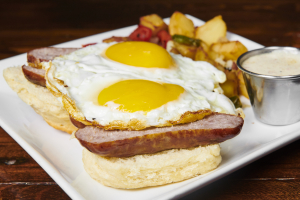 Sausage and Eggs on Open Faced Biscuit - delivery menu