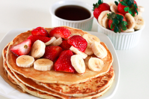 B30. Banana Strawberry Pancake Plate - delivery menu