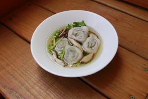 Ginger Broth with Mushroom Dumpling Soup - delivery menu