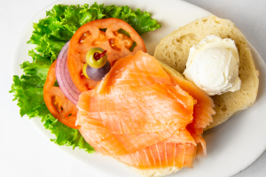 Nova Scotia Salmon or Belly Lox and Cream Cheese on Bagel - delivery menu