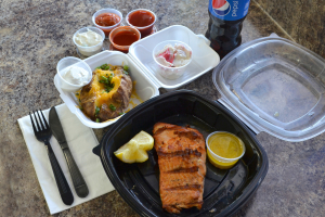 1/2 lb. Salmon Fillet Combo Meal - delivery menu